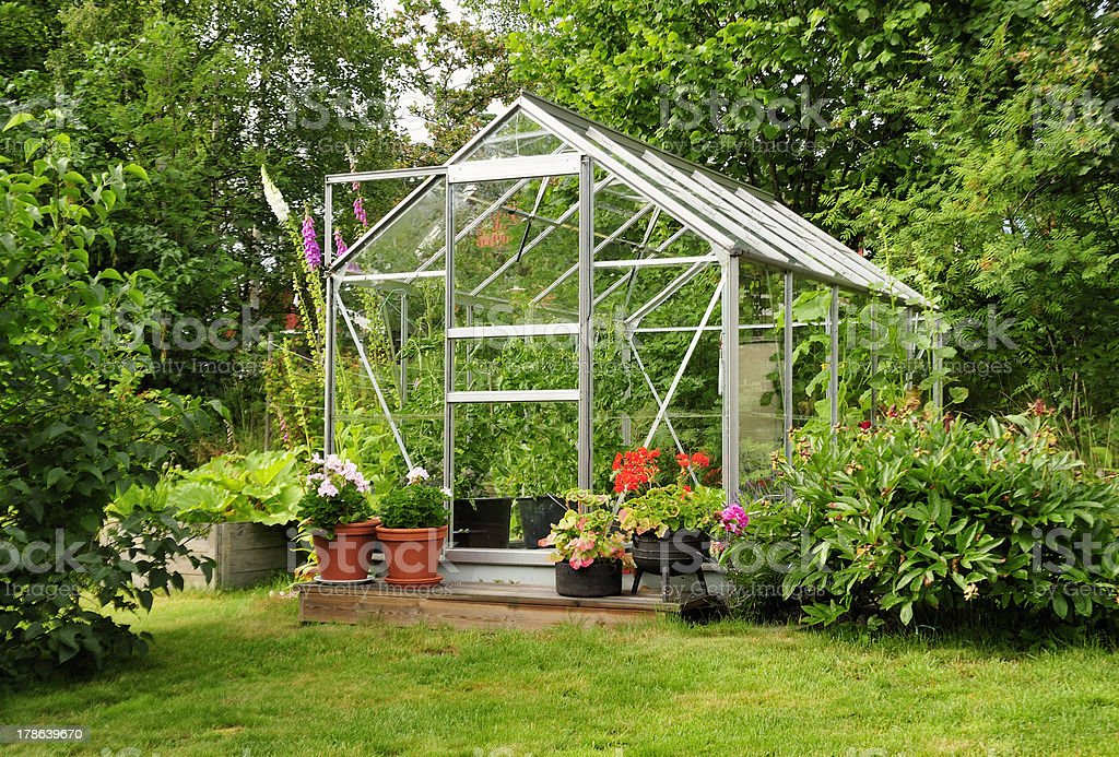 Garden greenhouse stock photo