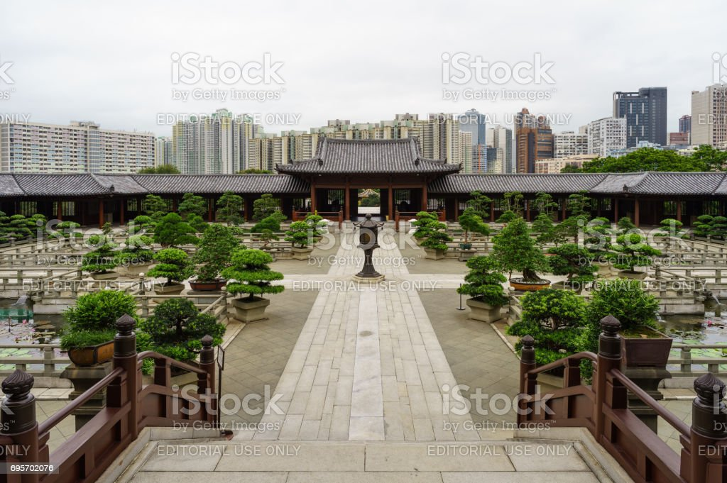 Garden hall in Chi Lin NUnnery - Diamond Hill, Hong Kong stock photo