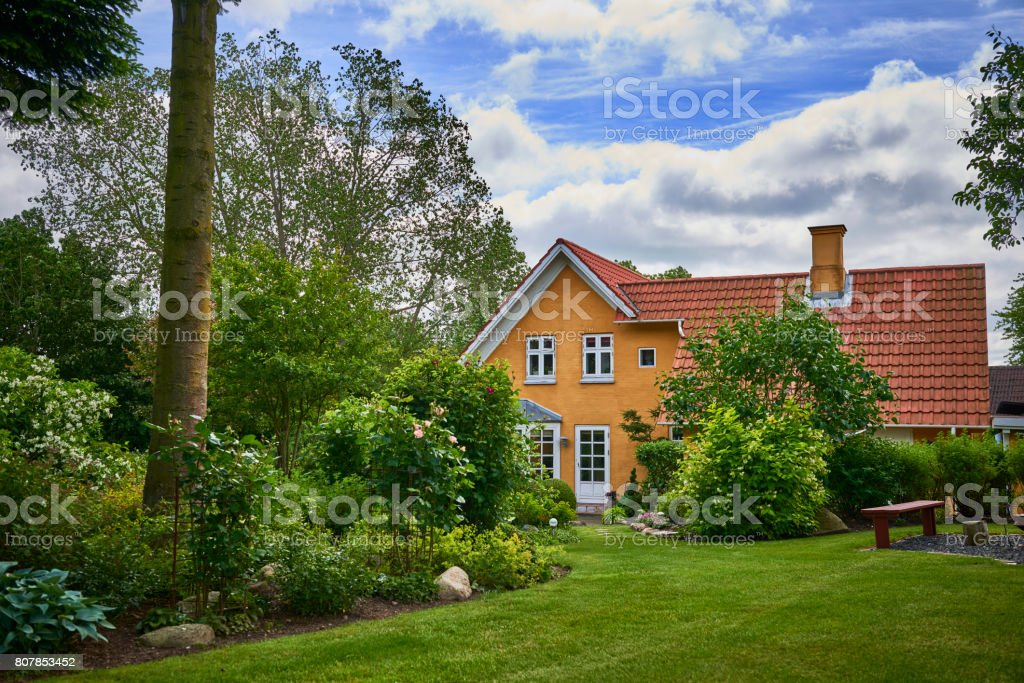 Garden in the countryside stock photo