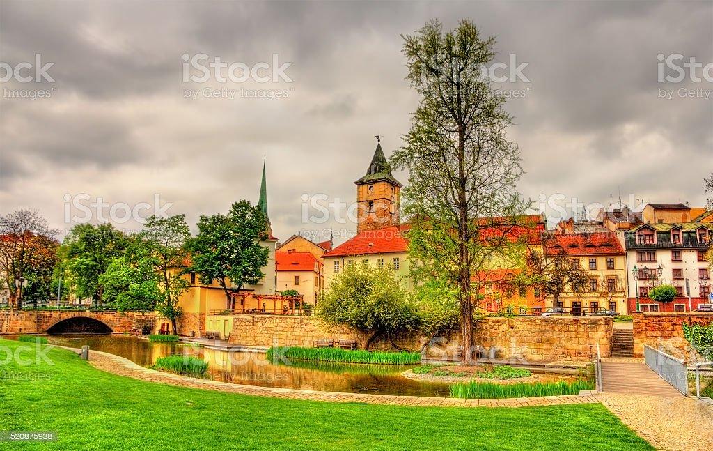 Garden in the historic centre of Pilsen stock photo