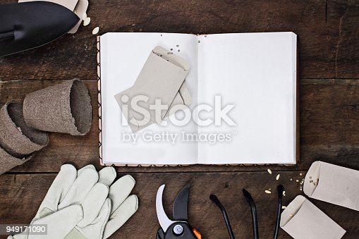 istock Garden Journal and Planting Seeds 949171090