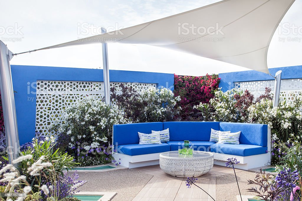 Garden landscape with a patio stock photo