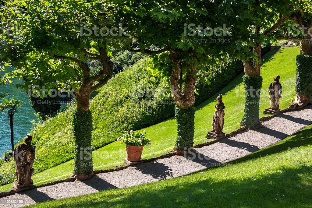 Garden landscaping in Lake Como area, Northern Italy. stock photo