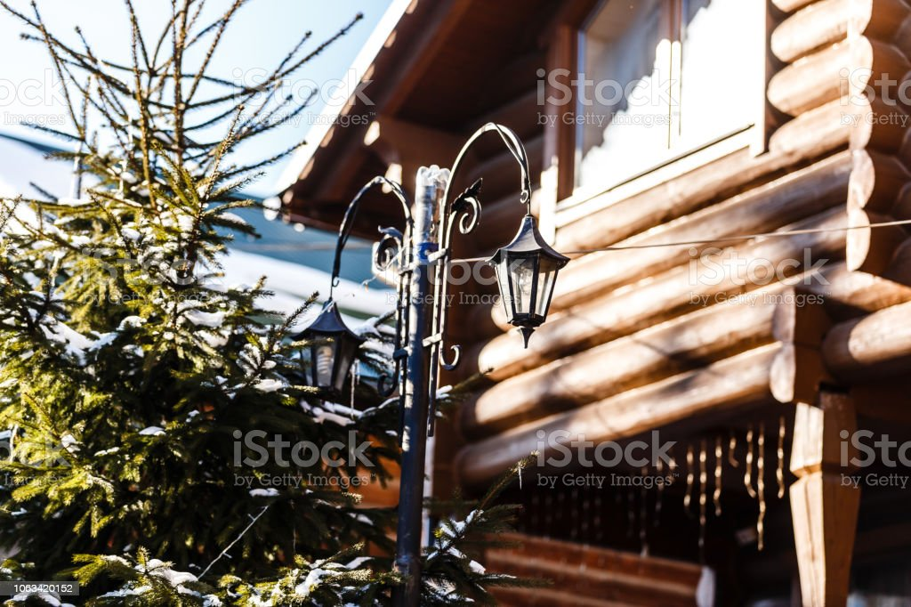 Garden Lanterns Outdoor Lights Beside The Wooden House Stock Photo Download Image Now Istock