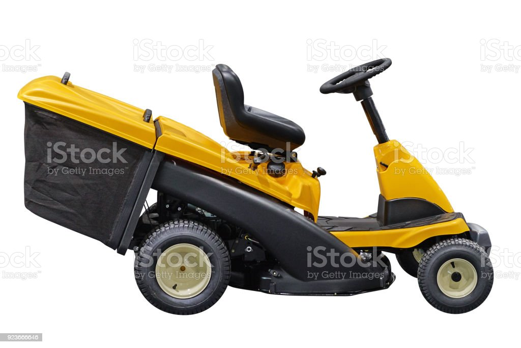 garden lawn mower isolated on white background stock photo