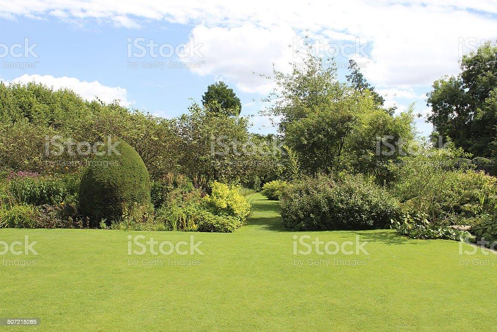 Espacio con césped del jardín vía imagen, arbustos autóctonos de herbáceos, flores, árboles - foto de stock