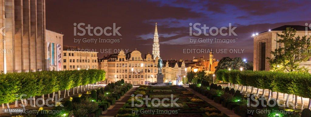 Garden Night scene of Mont des Arts (Mount of Arts) or Kunstberg museum quarter, Brussels, Belgium stock photo