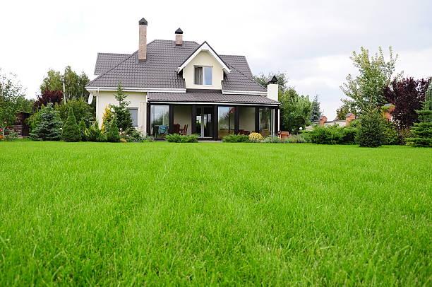 jardin de la maison - pelouse photos et images de collection