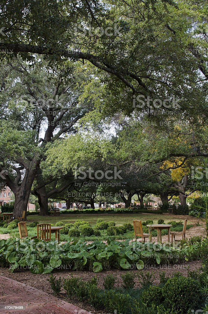 Garden of Armstrong Browning Library at Baylor University stock photo