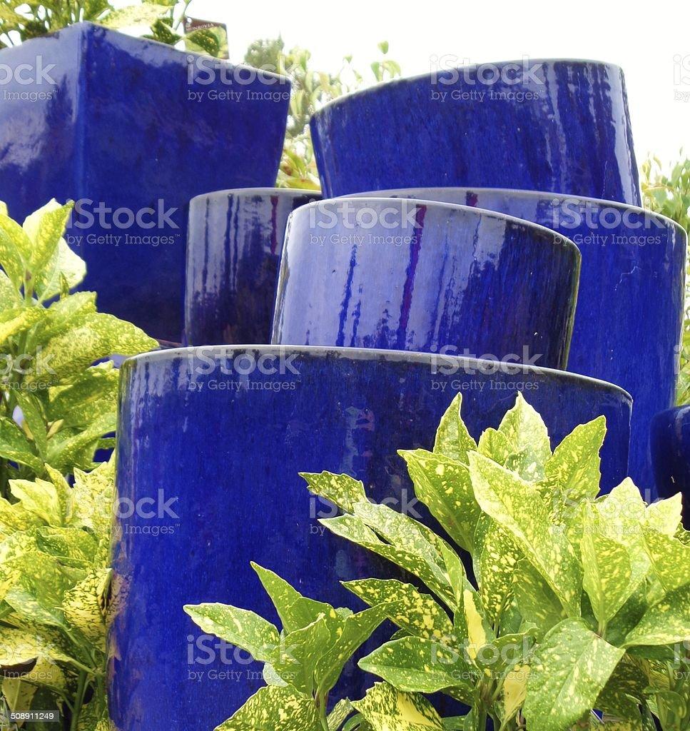 Garden of blue flower pots amidst greenery stock photo