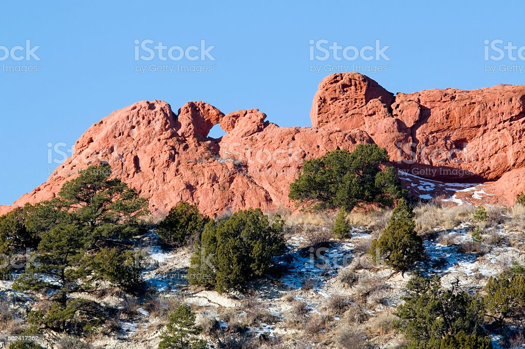 Garden of the Gods and Kissing Camels stock photo