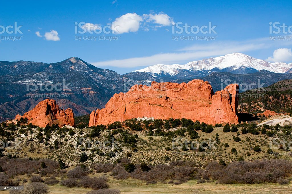 Garden of the Gods and Pikes Peak in the Morning stock photo