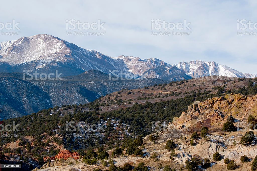 Garden of the Gods and Pikes Peak stock photo
