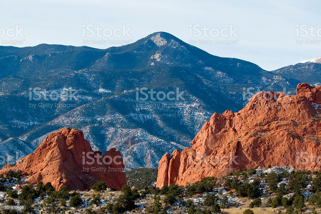 Garden of the Gods and Red Mountain stock photo