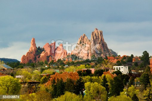 Red spires of the Garden of the Gods Park in Colorado Springs on a beautiul spring afternoon.