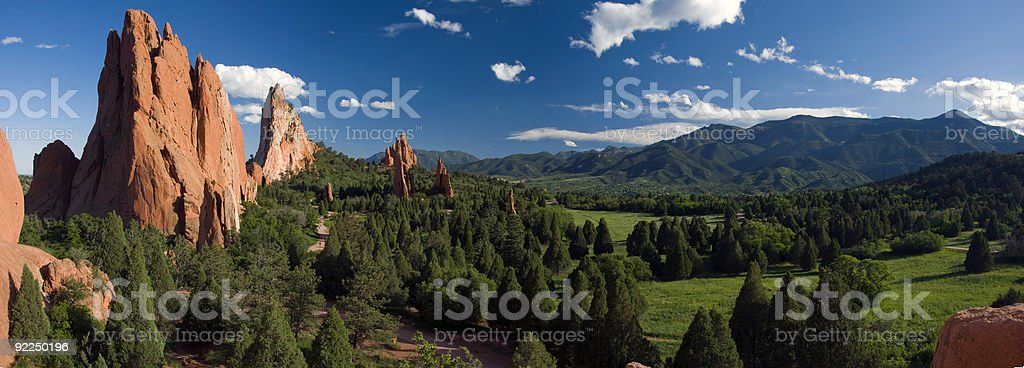 Garden of the Gods Panorama at it's Best! stock photo