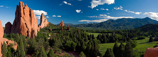 garden of the gods panorama at it's best! - red rocks stock pictures, royalty-free photos & images