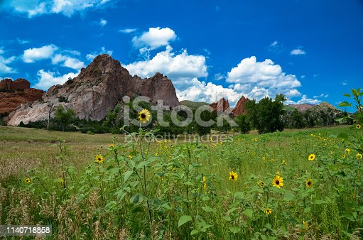 Scenic park near Pikes Peak with towering rock formations.