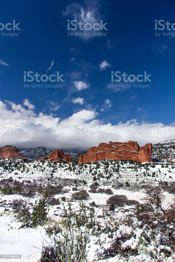 Garden Of The Gods Under Snow Stock Photo Download Image