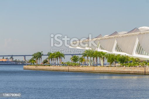 Garden of the Museum of Tomorrow in Rio de Janeiro, Brazil - August 8, 2020: Garden of the Museum of Tomorrow with the Guanabara Bay in the background in Rio de Janeiro.