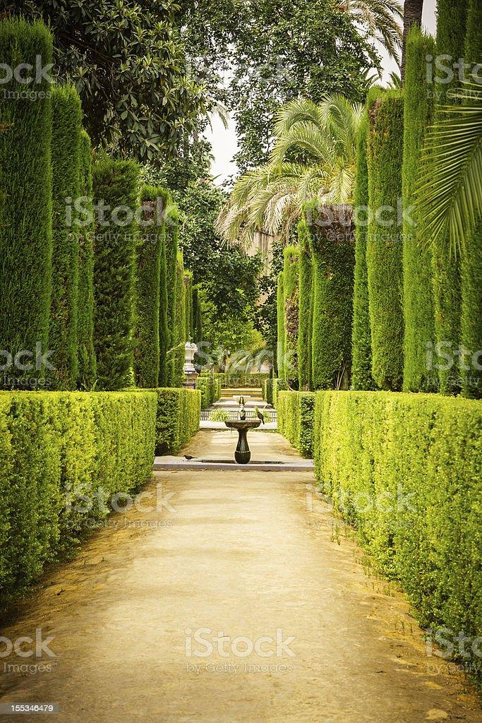 Garden of the Poets in Alcazar, Sevilla royalty-free stock photo