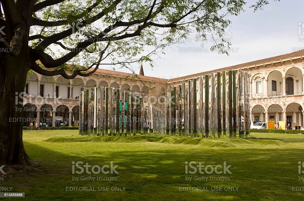 Garden of the Public University of Milan stock photo