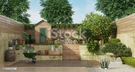 Garden with gardening tools , wooden shed and fruit tree - 3D Rendering Note: the garden does not exist in reality, Property model is not necessary