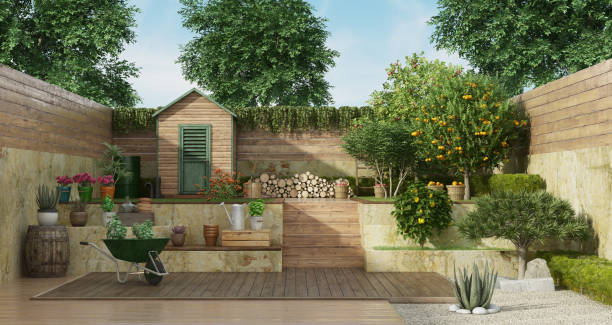 Garden on two levels with wooden shed and fruit tree Garden with gardening tools , wooden shed and fruit tree - 3D Rendering Note: the garden does not exist in reality, Property model is not necessary man made structure stock pictures, royalty-free photos & images