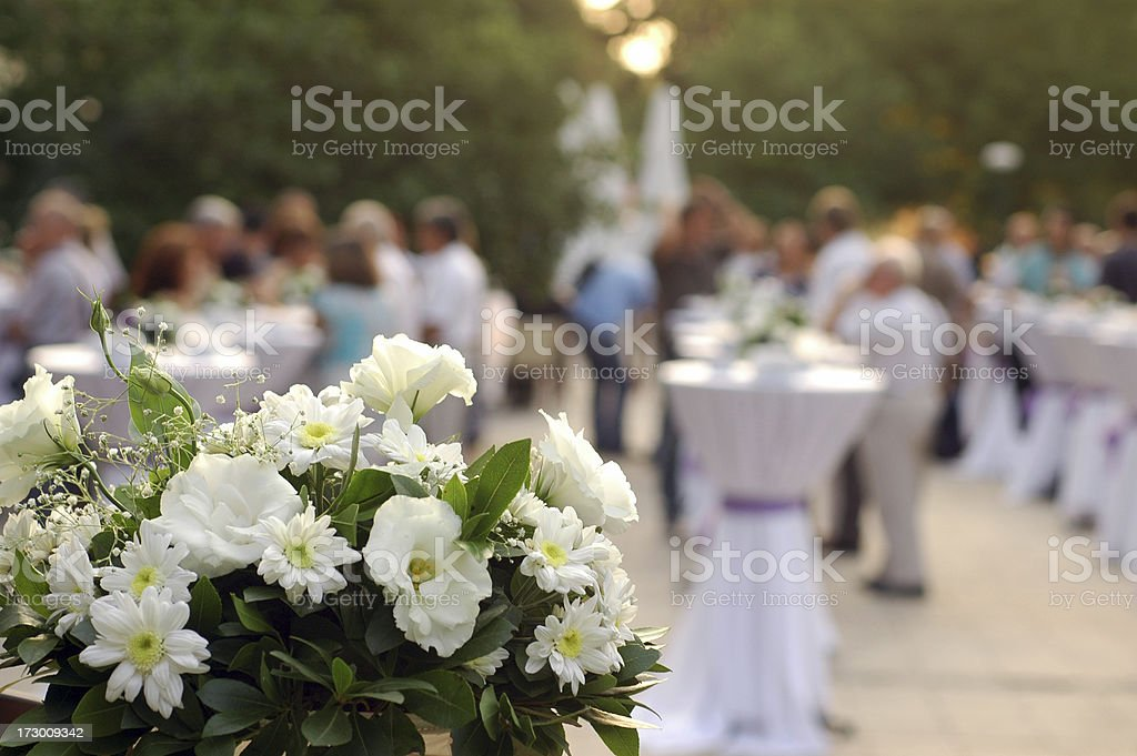 garden party and flower decoration stock photo