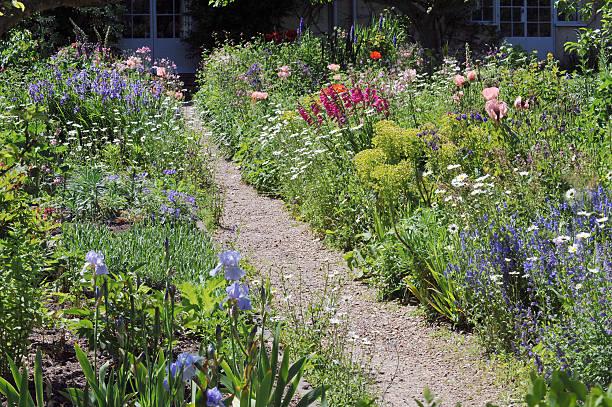 garden path - gartenkies stock-fotos und bilder