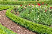 Gartenweg mit Rindenmulch entlang der Blumenbeete