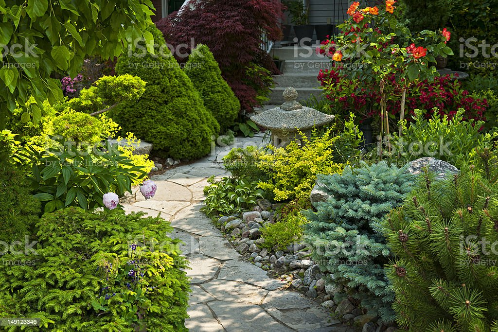 Garden path with stone landscaping royalty-free stock photo