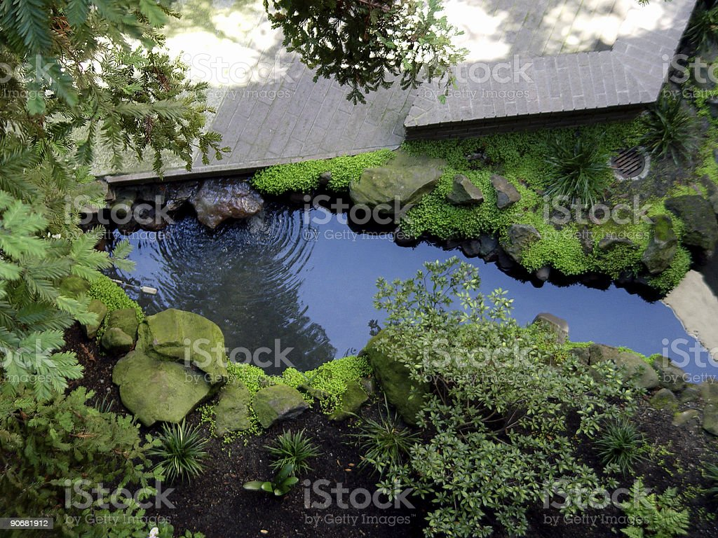 Garden Patio From Above royalty-free stock photo