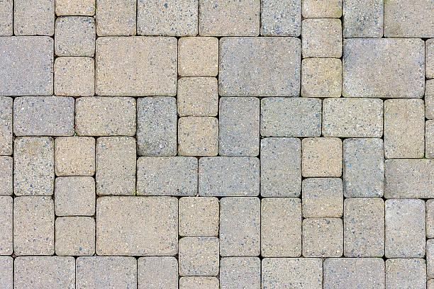 garden patio stone pavers top view - zement terrasse stock-fotos und bilder