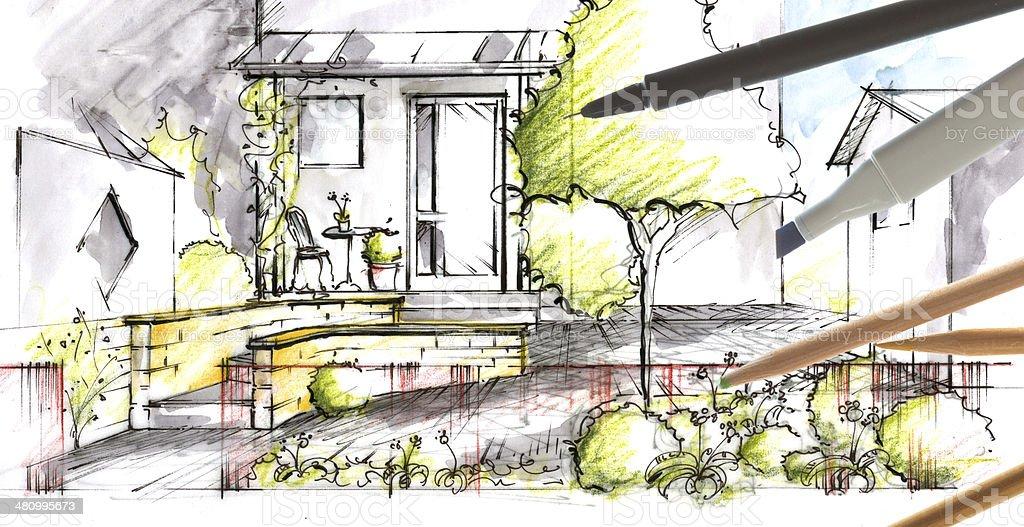 Garden plan View Sketch stock photo