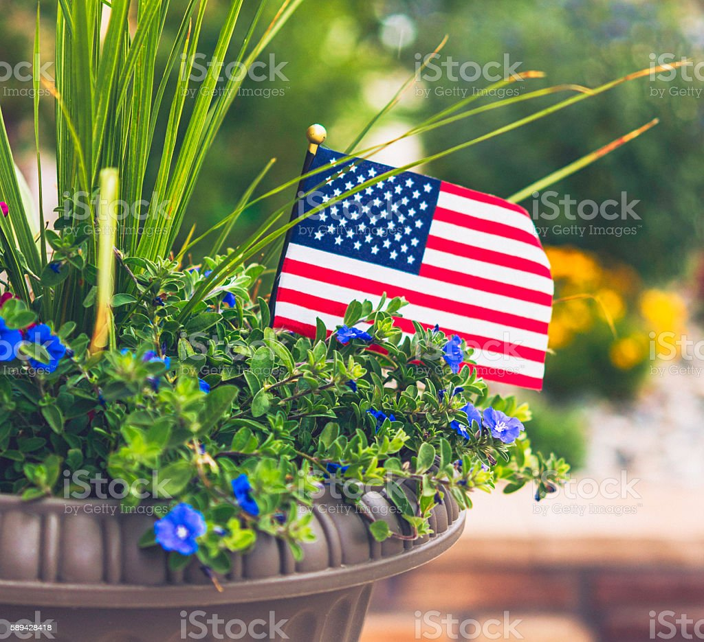 Garden planter with flowers and US flag for American holidays stock photo