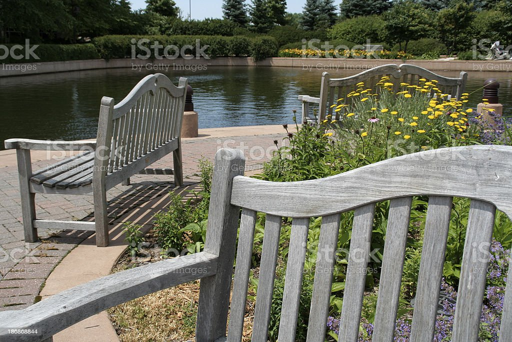 Garden Pond Benches royalty-free stock photo