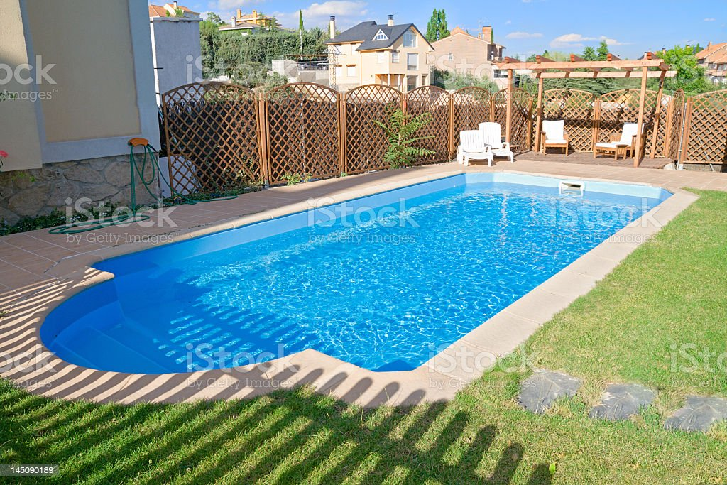 Garden Pool with sparkling fresh water stock photo
