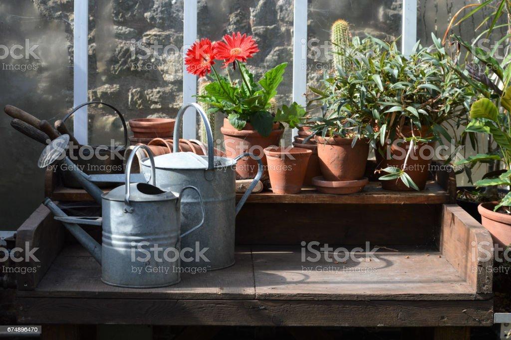 Garden potting table. stock photo
