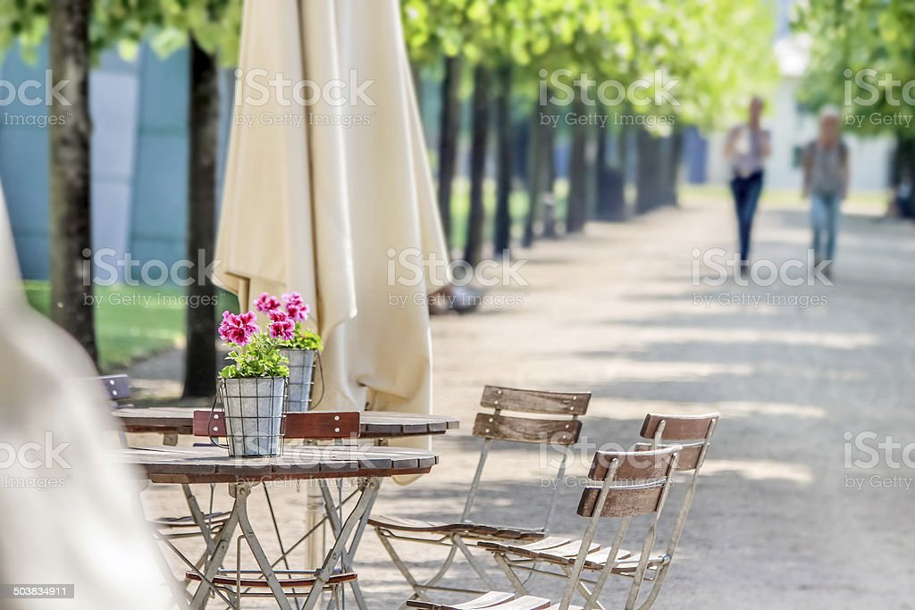 Garden restaurant in the park stock photo