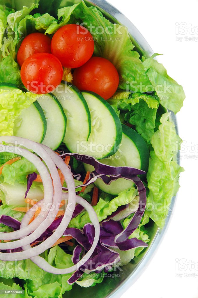 Garden Salad on White Background stock photo