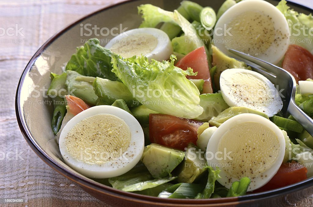 Garden Salad With Hard Boiled Egg Stock Photo & More Pictures of ...