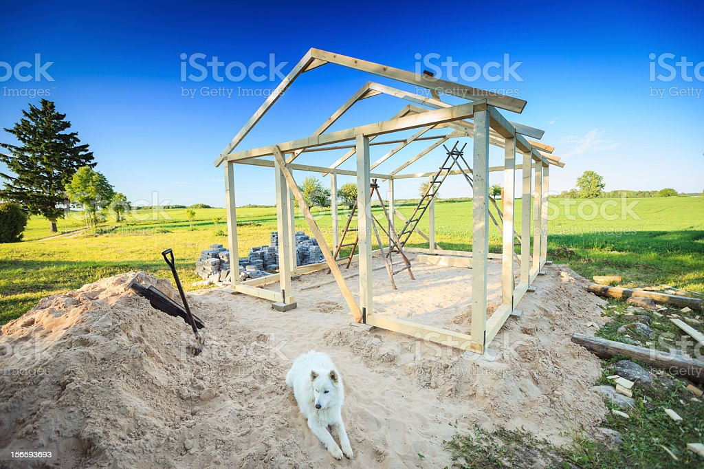Garden shed construction royalty-free stock photo