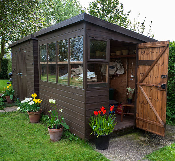 Garden shed exterior with open door, tools, and plants. Garden shed exterior in Spring, for gardening and outdoor lifestyles. shed stock pictures, royalty-free photos & images