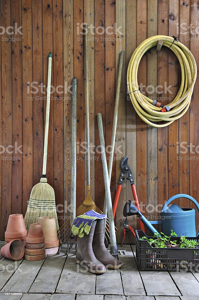 garden shed four stock photo