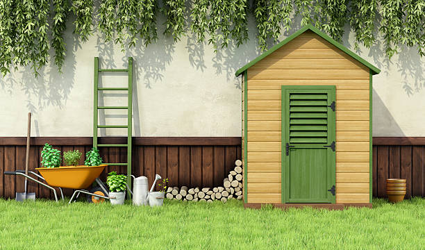 Garden shed Garden with gardening  tools and wooden shed with closed door - 3D Rendering shed stock pictures, royalty-free photos & images