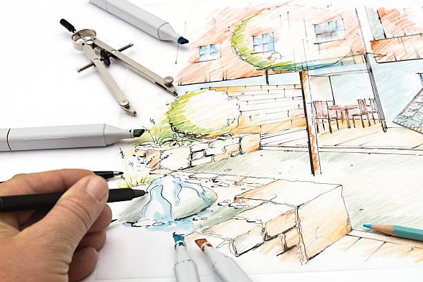 garden skizze design - gartenillustration stock-fotos und bilder