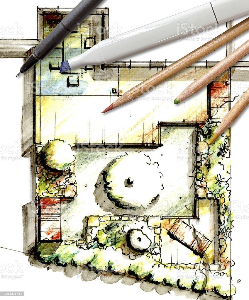 Garden Sketch Design stock photo