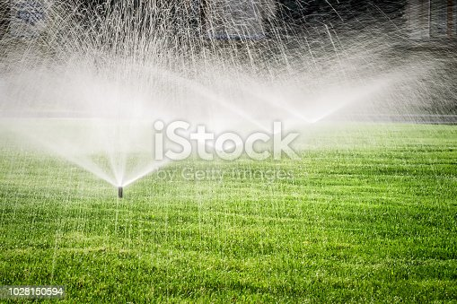 Several garden sprinklers on the green grass field