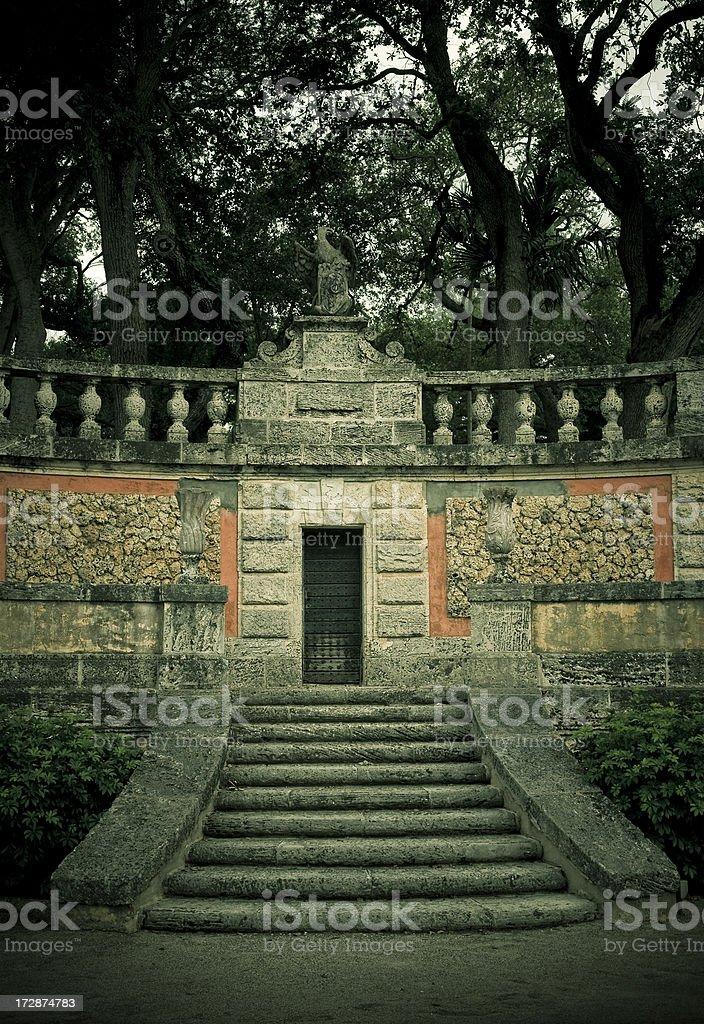 Garden staircase vizcaya stock photo